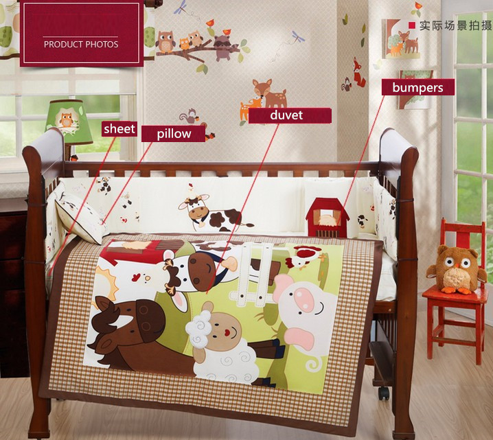 7PCS embroidery Appliqued Baby Cot Crib Bedding set for girl and boys Comforter,include(bumper+duvet+sheet+pillow) promotion  7pcs embroidery appliqued 3d