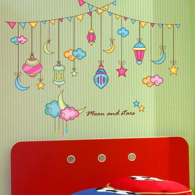 Cartoon moon star sticker baby room wall stickers children\'s room ...