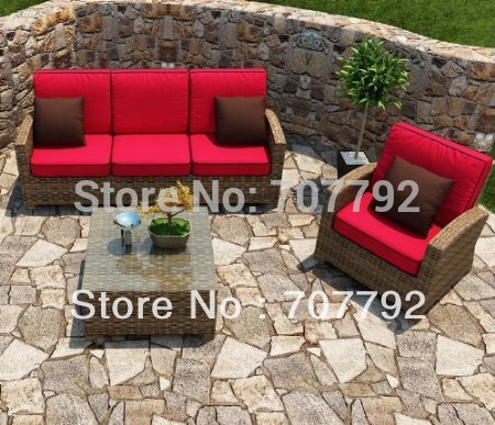 forever patio cypress 3 piece outdoor rattan sofa set with red cushions