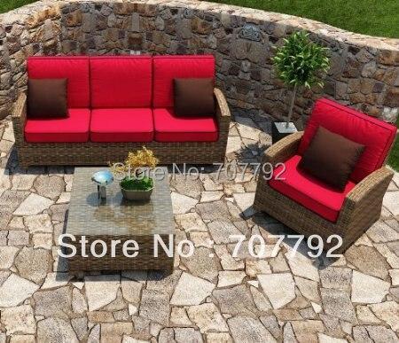 Siempre patio Cypress 3 unidades al aire libre sofá de ratán ...