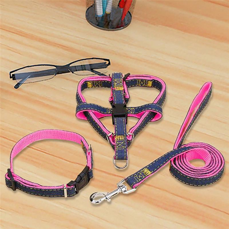 Puppy Dog Harnesses Lead Set Cowboy Traction Rope Strong Leash Dog Collar Teddy Pet Training Supplies Small M Dogs Harnesses