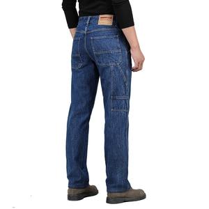 Image 2 - Kış sonbahar yüksek bel kalın pamuklu kumaş kot erkekler rahat klasik düz kot erkek kot çok cep pantolon tulum