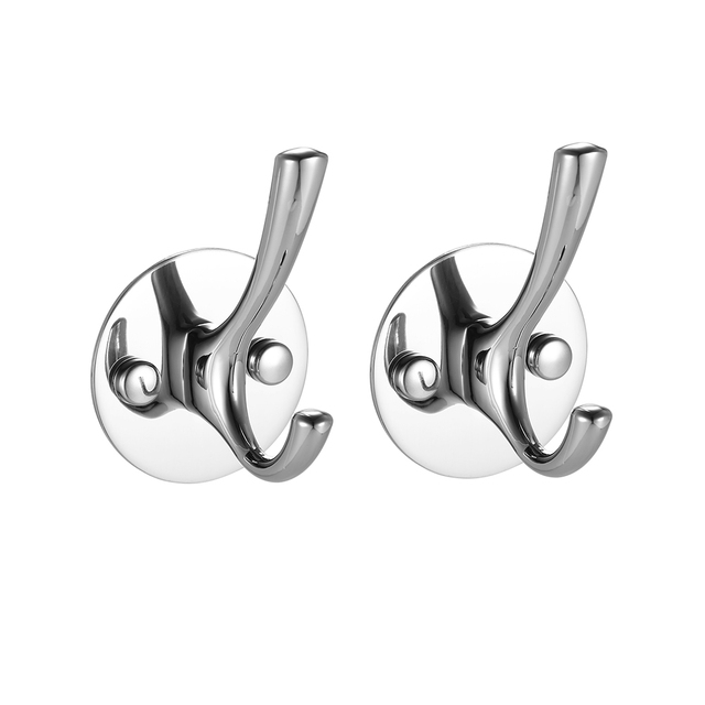 2pcs Bathroom Wall Mounted Hooks High Quality Stainless Steel Towel Rack Clothes Hanger Hook