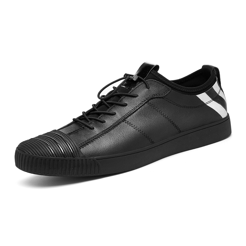 JMaiou Brand Fashion Sneakers Leather Casual Shoes Men Breathable Classic Black Male Shoes Spring Summer Sneakers C4