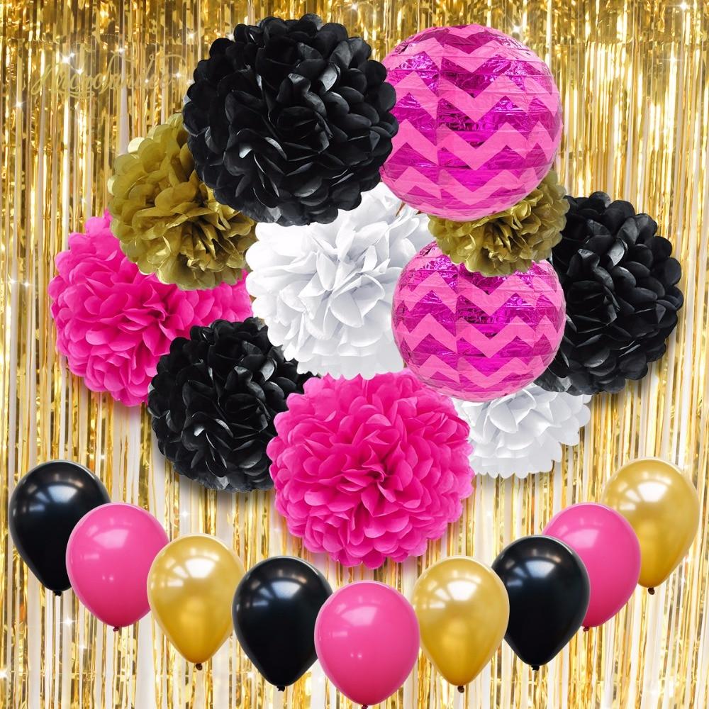 Festa de Casamento Decoração 21 NICROLANDEE pçs/set Balões Lanterna de Papel DIY Flor Bola PomPom Borla Cortina de Decoração de Aniversário
