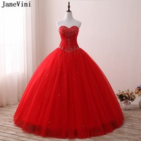 JaneVini Elegant Princess Gown Red Long Quinceanera Dresses 2019 Sweetheart Tulle Floor Length Beading Ball Gown Vestido 15 Anos
