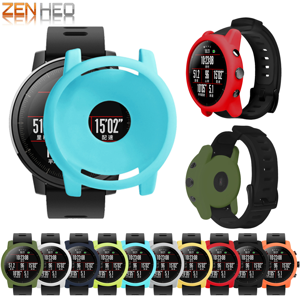 Protector Shell for Xiaomi Huami Amazfit 2/2S Stratos Full Frame Soft Silicone Protective Case for amazfit 2 stratos Watch Frame цена и фото