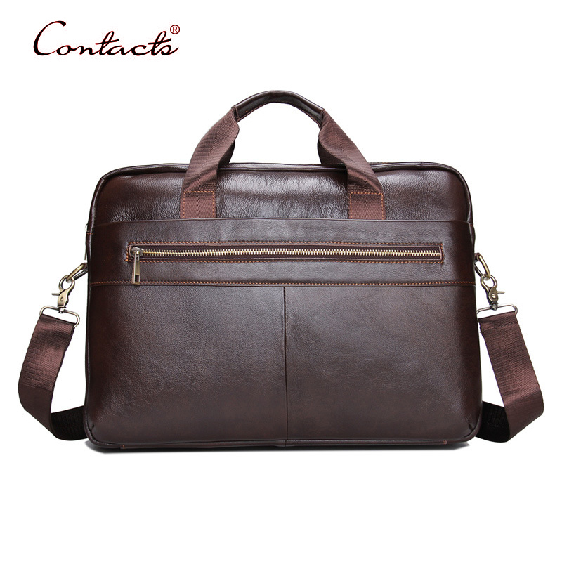 CONTACT'S Men Handbags Genuine Leather Business Briefcase Male Tote Bags Crossbody Shoulder Messenger Bag Laptop 2017 New Design j m d genuine leather men bag travel bag male bolsos men s handbags business laptop shoulder bags briefcase messenger tote bag
