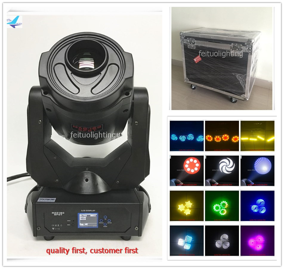 free shipping 4pcs/lot flycase Super Bright 180W LED Moving Head Light Stage Gobos 3 Prism DMX Spot Lighting for Disco DJ Party