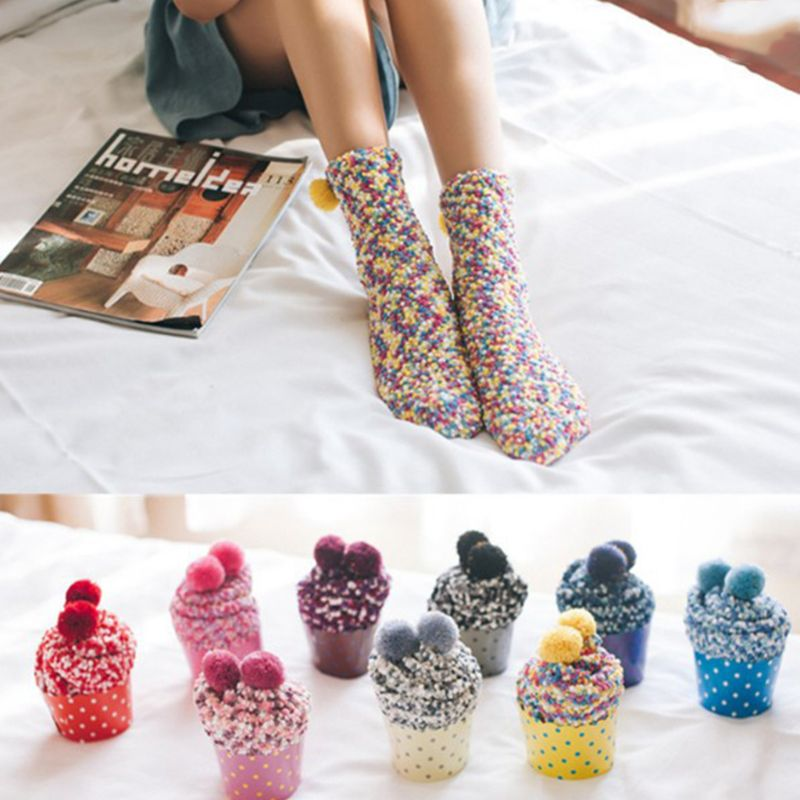 1 Pair 30cm Women Girls Winter Warm Sweet Cup Cake Cotton Coral Fleece Mid-Calf Long Towel Socks Candy Color With Lovely Pompom