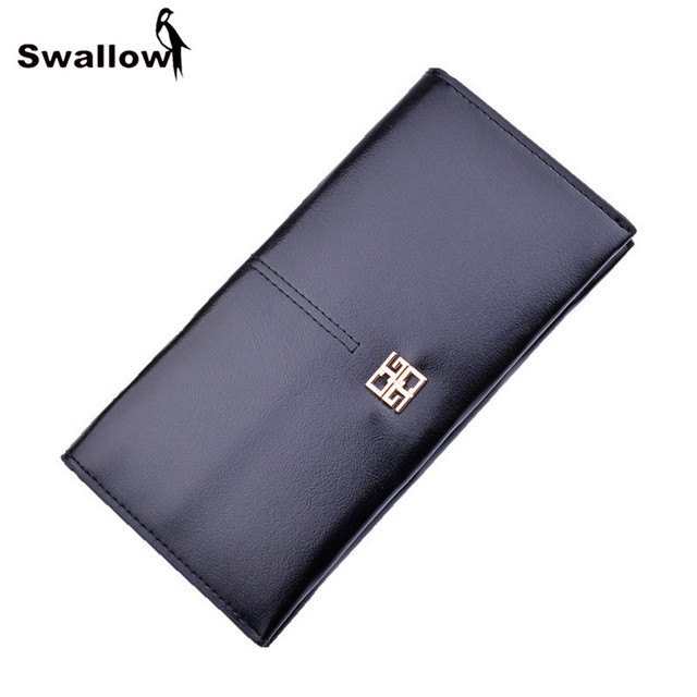 SWALLOW Casual Long Style Women Wallets With Card Holder Large Capacity Solid Women Purse