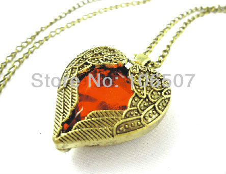 wholesale free shipping 10pcs classic RED heart GEM necklace wing necklace long choker necklace sweater chain new hot