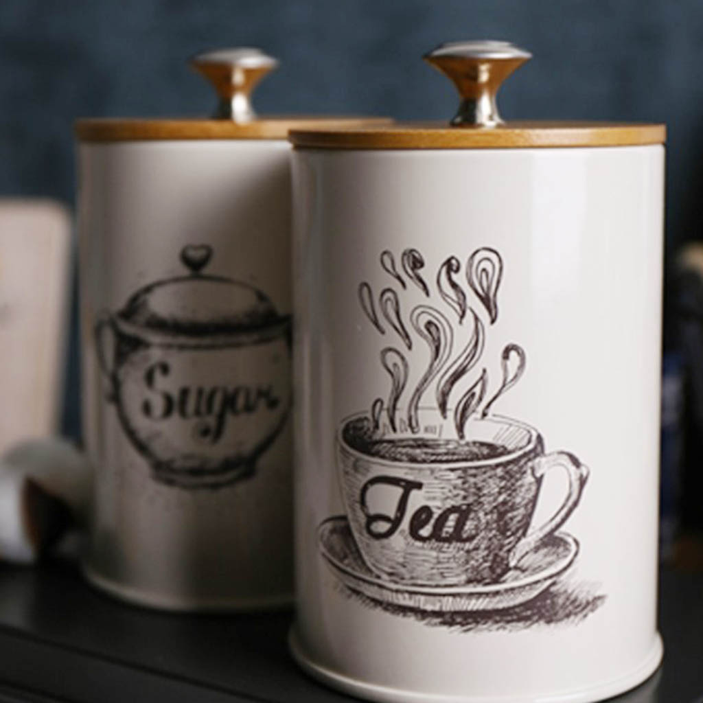 Image 5 - 3 Pieces Metal Canisters Set Dry Food Storage Container for kitchen Counter, Tea Sugar Coffee Canister-in Storage Bottles & Jars from Home & Garden