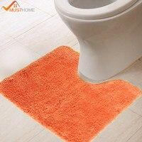 כתום שטיח מיקרופייבר שרותים מוצק לעבות אסלת חדר אמבטיה מחצלות חזרה לטקס טבעי 45x45 ס