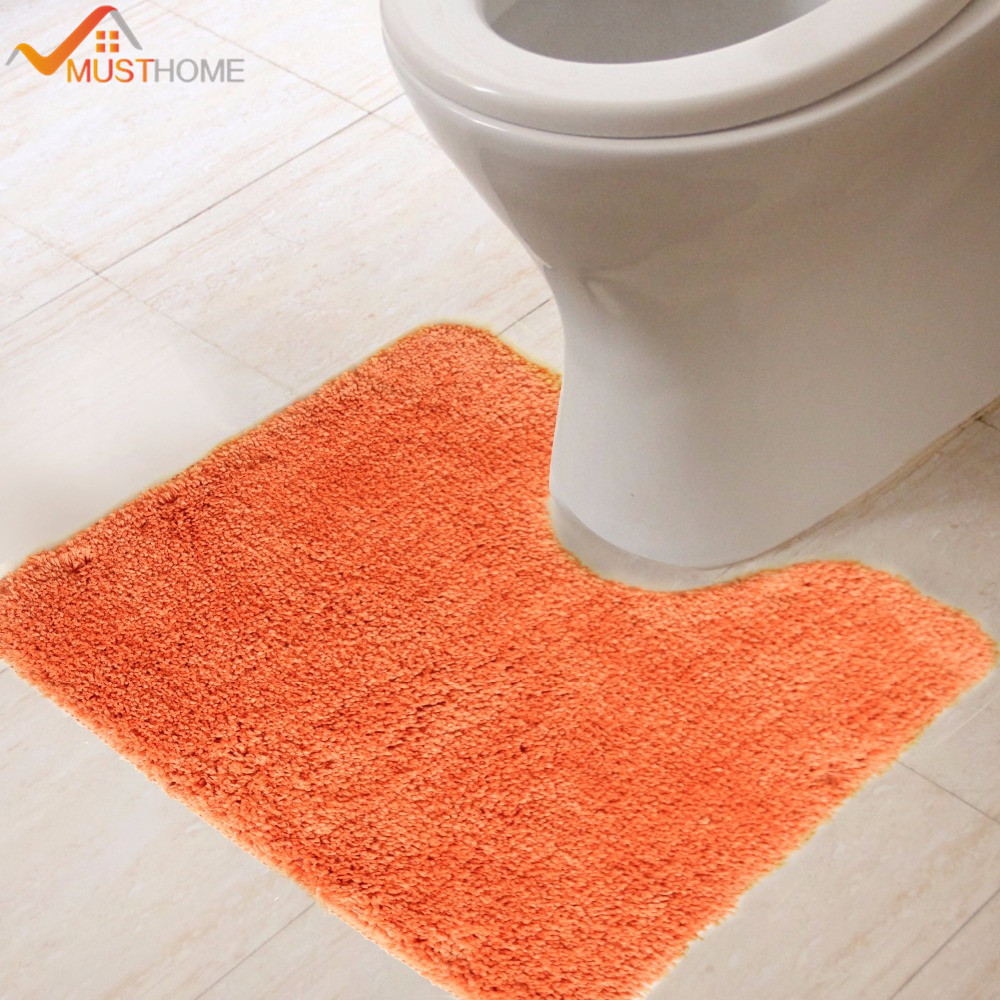 Microfiber Solid Toilet Rug Orange Thicken Bathroom Toilet Mats Non Slip  Natural Latex Back 45x45cm.