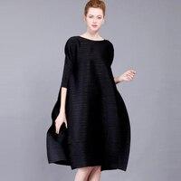 High end Fashion Black Women's Dresses Miyak Pleated 3/4 sleeves O neck loose Large size dress elegant Party Dresses Plus Size