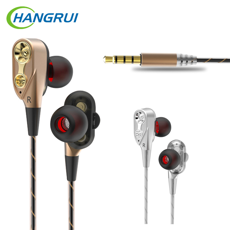 Wired earphones with microphone for android for iphone earphone dual drive bass music earbud gaming headset for phone auricular