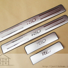 Для Kia RIO K2 2010- 4 шт./компл. высококачественная нержавеющая сталь порога Обложка Добро пожаловать педали отделки салона автомобиля-Средства для укладки волос