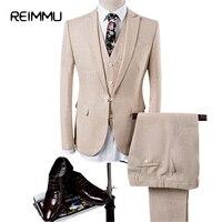 Reimmu Biancheria Suits Set Vestito Degli Uomini di Nuovo Modo di Marca Abbigliamento Sottile Fit Mens Abiti Da Sposa Big Size 4XL Maschio Vestiti Vestito della Giacca Sportiva Hot