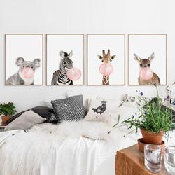 Жевательная резинка жираф зебра постеры с животными холсте Картина Настенная картина в детскую декоративная картина Nordic Стиль дети деко