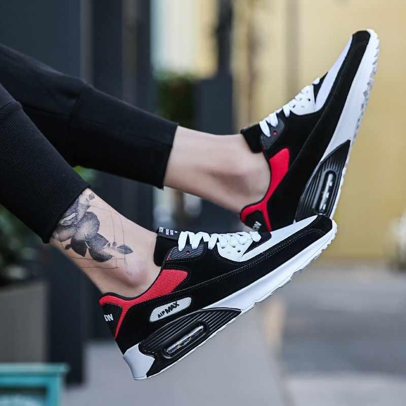 Homem running shoes para homens almofada de ar confortável respirável lace-up ao ar livre adulto estabilidade sapatilha sapato de corrida max tamanho 39-47