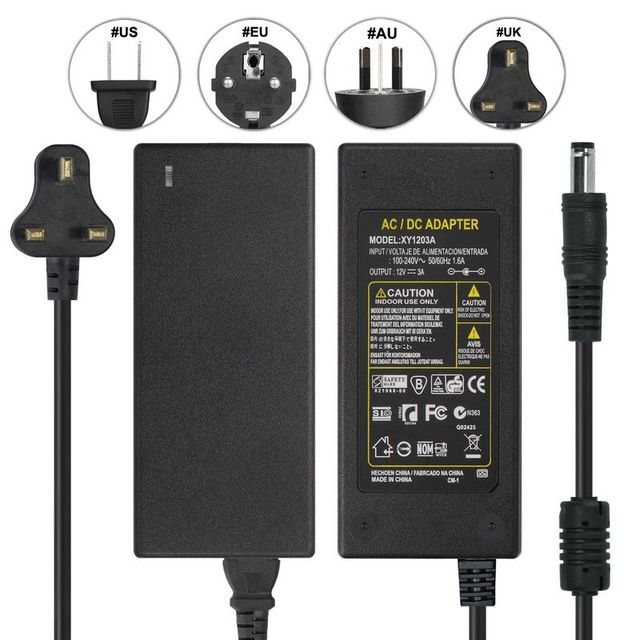 10pcs DC 12V 3A Adapter Power Supply + UK Plug AC Power Cable For CCTV  Security Camera LCD Monitor Display Router LED Controller-in AC/DC Adapters