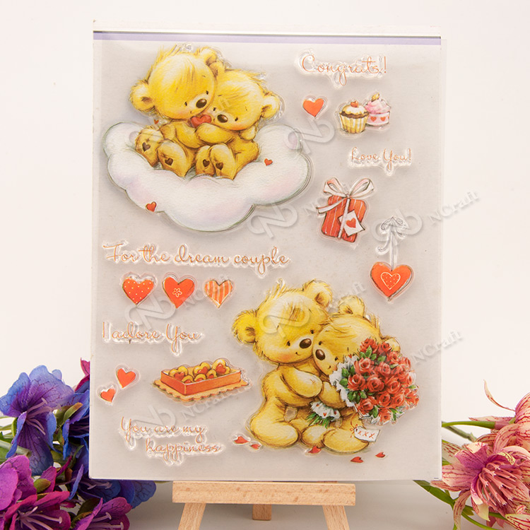 Bear hug Transparent Clear Silicone Stamp/Seal for DIY scrapbooking/photo album Decorative clear stamp sheets lovely bear and star design clear transparent stamp rubber stamp for diy scrapbooking paper card photo album decor rm 037