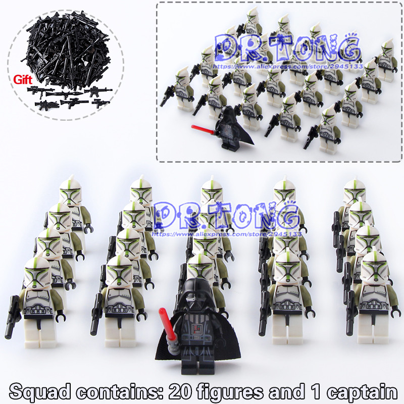 DR TONG 21PCS/LOT Star Wars Shadow ARF Clone Trooper Figure Storm Snowtrooper Building Block Bricks Model Toys Children Gifts dr tong 20pcs lot pg1049 super hero