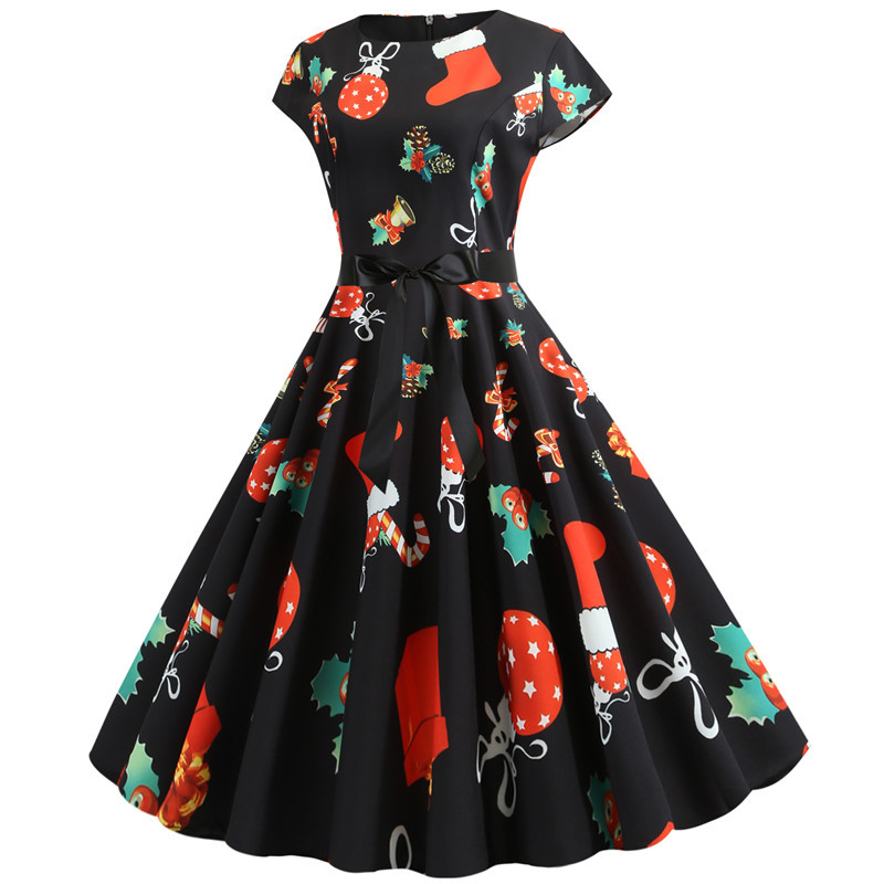 Christmas Dress 2020 Summer Short Sleeve Women Vintage Evening Party Dress Swing Casual A-Line Elegant Print Vestidos Plus Size 2