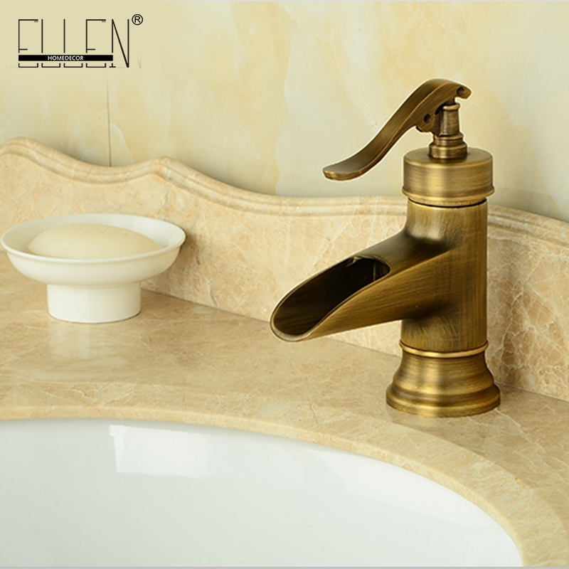 Free shipping antique brass bathroom faucet deck mount single handle ...