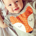 2016 Baby Bodysuits Newborn Cotton Body Baby Short Sleeve Fox Bodysuits Infant Boys Girls Pajamas Clothes