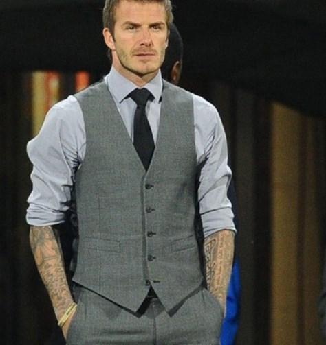 2016 cinza Slim Fit vestido coletes para homens David Beckham Mens terno Formal coletes de noiva sem mangas Jacket Blazer Chaleco Hombre