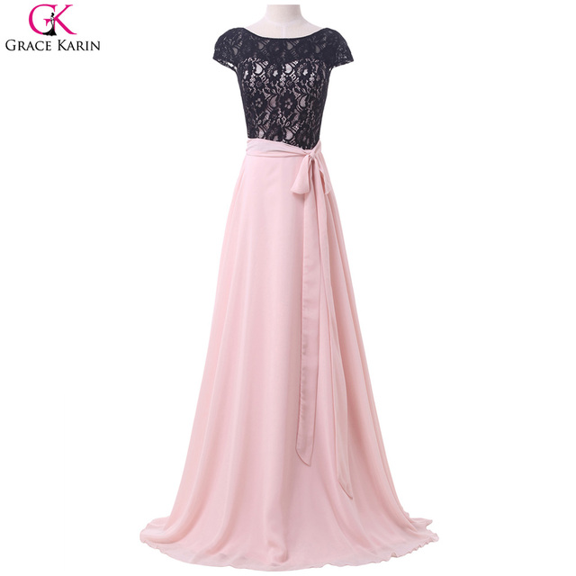 Pink and Black Lace Prom Dress