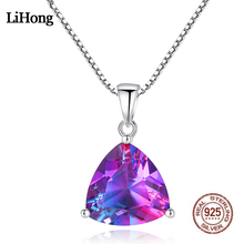 Rainbow Stone Pendant Nacklace S925 Sterling Silver New Geometric Luxury Boutique Jewelry Necklace Women Birthday Party Gift green stone boutique burma pixiu pendant jewelry gift 1