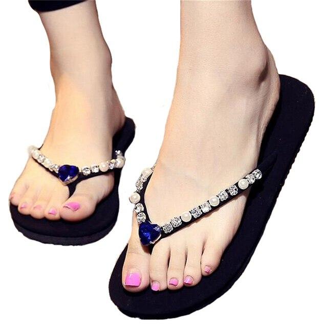 b4444e40430d Korea Fashion Studded Jewel Anti-slip Pantai Sandal Tali Datar Flip Flop