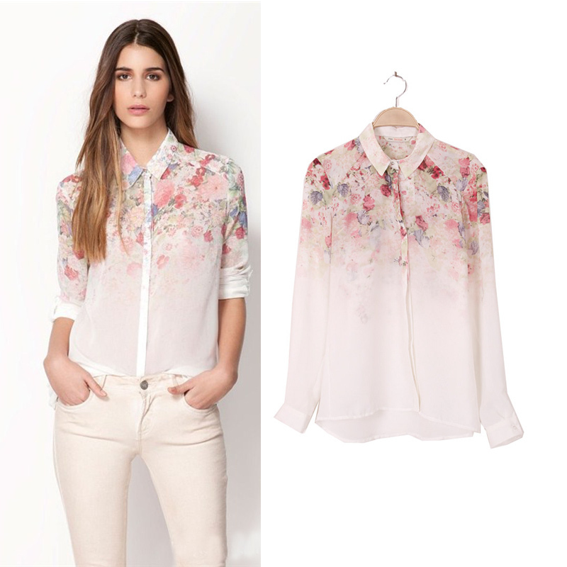 Buy white see through women loose button for White floral shirt womens