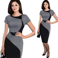 Black Colours Blocks Dresses Women Office Workwear Shiffting Dress Vetement Femme Plus Size Bodycon Ropa Mujer