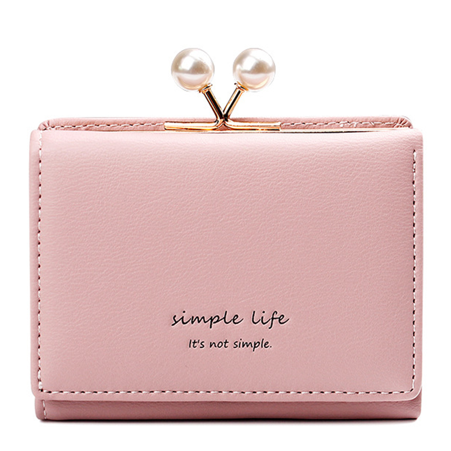 Cute Pearl Mini Women Wallet Korean Style Woman Credit Card Holders Casual Solid Color Students Clip Short Wallets Purse 2019 image