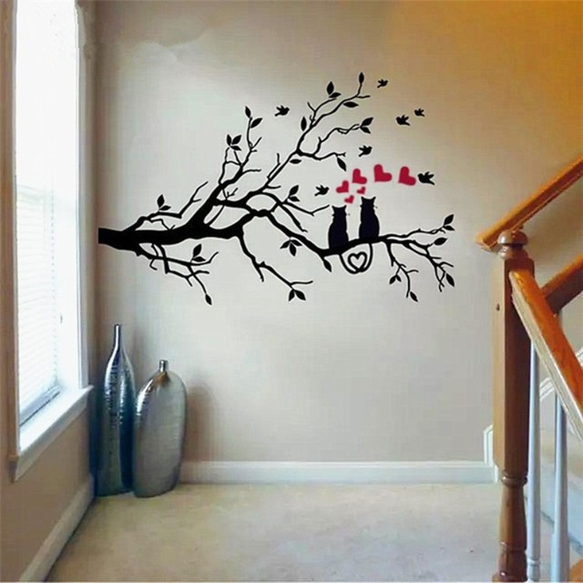 Two Loving Cats  On Tree The Branches Birds And Tree Wall Stickers Vinyl 3D Wall Decals Stickers Home Decor DIY Decoration Y-936
