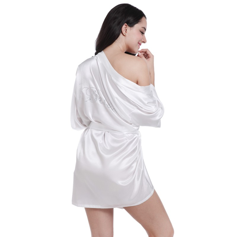 Satin Faux Silk Wedding White Bridal Dressing Gown Kimono Bathrobes