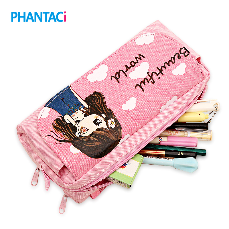 Cute Beautiful World Pencil Case Kawaii Girl School Supplies Canvas Pencil Bag Large Capacity Pen Bag Pouch Student Stationery mint student navy canvas pen pencil case coin purse pouch bag jun01