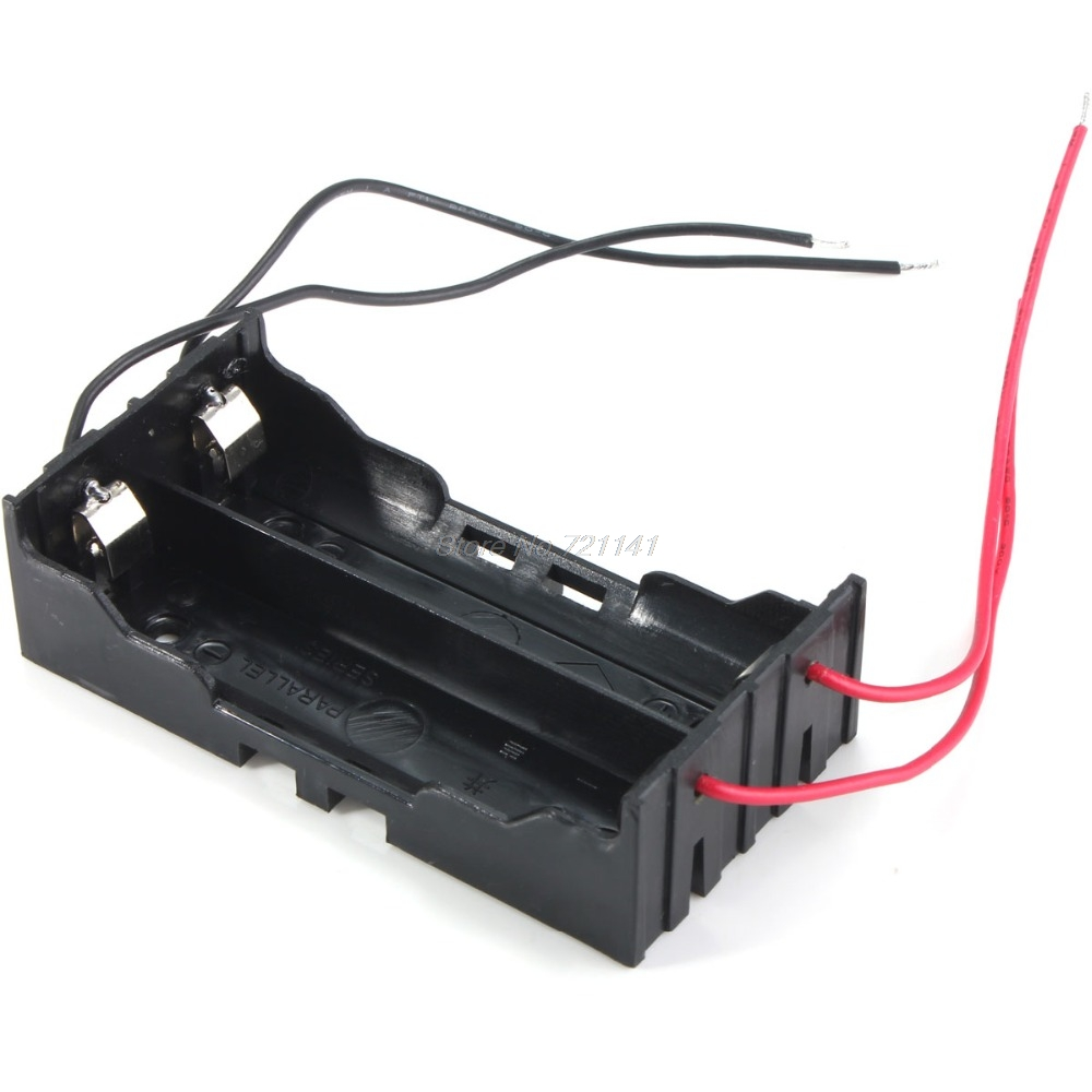 1 PC Box Holder For 2 X 18650 Black With Wire Leads Plastic Battery Storage Case NEW Electronics Stocks