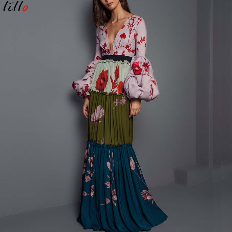 Draped Lantern Sleeve Deep V Long Print Dress Patchwork Party Summer Fall Fashion Elegant Women Unique Design
