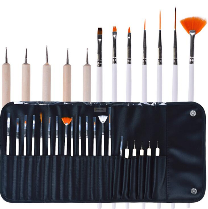 20pcs Nail Art Brushes With Bag Nail UV Gel Brush Dotting Pen For Manicure Tools Set Brushes Draw Paint Design Kit