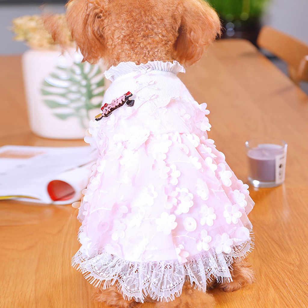 Кружевное платье принцессы платье с принтом ананаса теплый костюм для животного Одежда Аксессуары 0-шеи платья для собак для маленьких собак лето F17