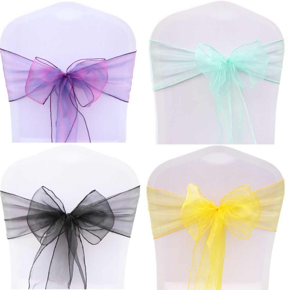 Free Shipping 25pcs/set 32 Colors Organza Chair Sashes 7x108inch Event Ceremony Party Wedding Chairs Knot Decoration Chair Bows