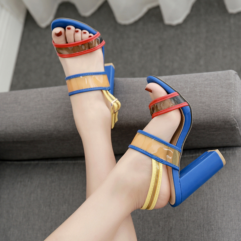 Liren 2019 New Fashion Transparent PVC Ankle Strap Sandals Women Square High Heels Open Toe Sandals Mixed Colors Shoes Size 40 in High Heels from Shoes