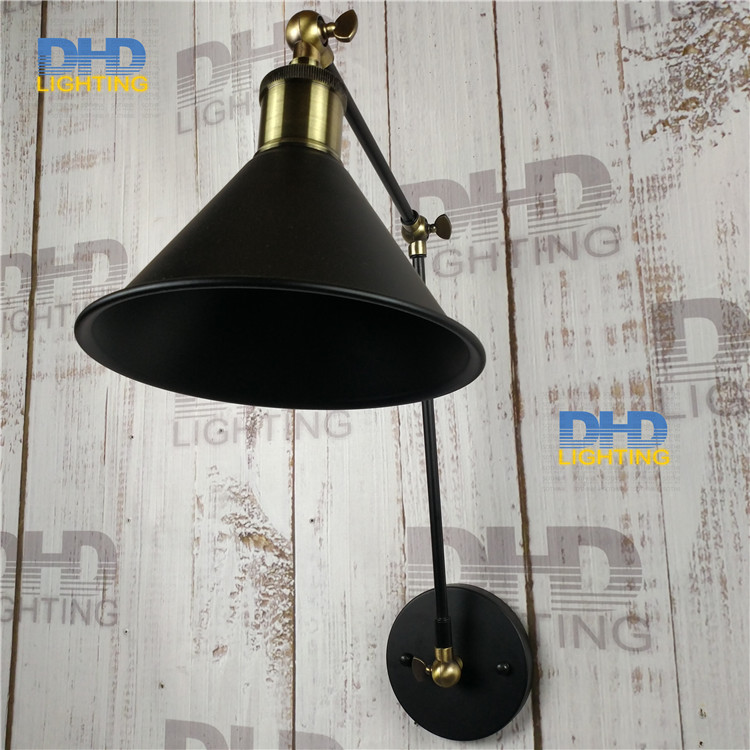Free shipping black iron shade wall lamp double arm adjustable up and down beside lighting sconce antique brass holder for room