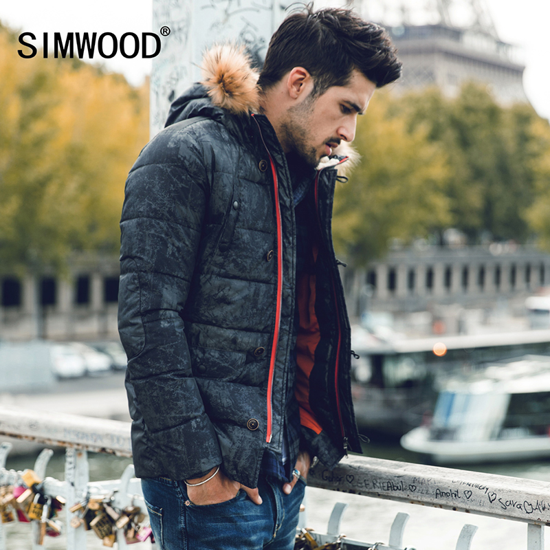 SIMWOOD New Winter Fashion Coats Vintage Warm Thicken Parkas Warm Slim Fit Brand Clothing MF612