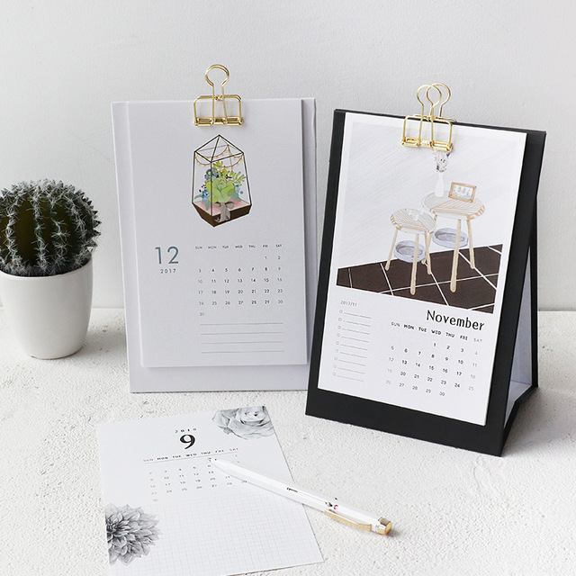 2017.10   2018 Table Calendar Office Accessories 2018 Calendar Desk Vintage  New Year Work Schedule Calendar